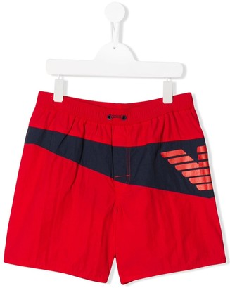 Emporio Armani Kids TEEN logo swim shorts