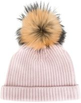 N.Peal cashmere ribbed beanie - women - Cashmere/Racoon Fur - One Size