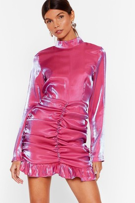 Nasty Gal Womens Shimmy Over Here Satin Mini Dress - Pink - 4