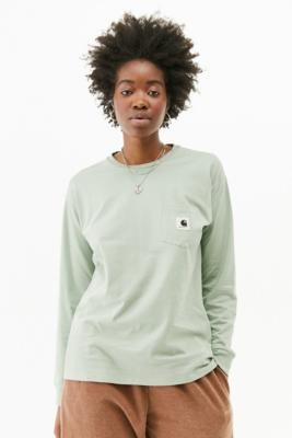 Carhartt WIP Long-Sleeve Pocket T-Shirt - Mint XS at Urban Outfitters