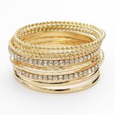 Apt. 9 Hammered & Twist Simulated Crystal Bangle Bracelet Set
