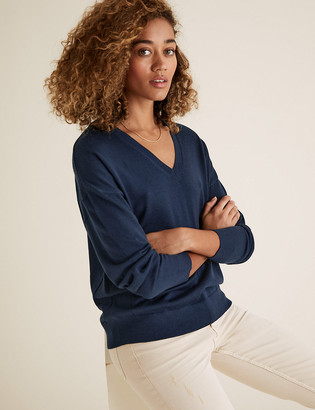 Marks and Spencer Pure Merino Wool V-Neck Relaxed Jumper