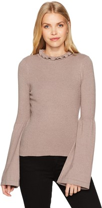 EVIDNT Women's Frilled Neck Top with Bell Sleeve