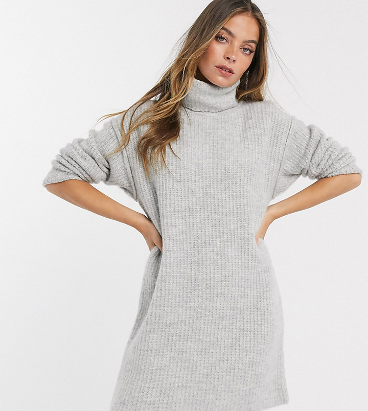 ASOS DESIGN Petite chunky mini dress with roll neck