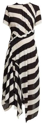 Preen Line Striped Asymmetric-hem Crepe Dress - Womens - Black Multi