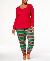 Family Pajamas Women's Plus Size Holiday Stripe Pajama Set, Created for Macy's