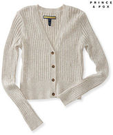 Aeropostale Womens Prince & Fox Ribbed Button Front Cropped Cardigan