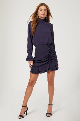 Little Mistress Outrageous Fortune Reilly Navy Tie-Back Ruched Mini Dress