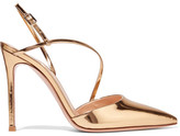 Gianvito Rossi 105 Metallic Patent-leather Pumps - Gold
