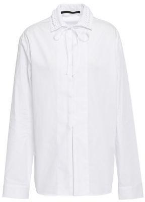 Haider Ackermann Lace-up Cotton-poplin Shirt
