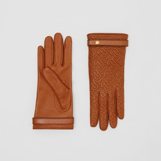 Burberry Cashmere-lined Quilted Monogram Lambskin Gloves