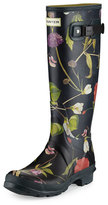 Hunter Original Tall Floral-Print Rain Boot, Black/Multi