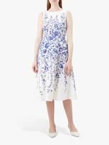 Hobbs Sissinghurst Floral Dress, Ivory/Blue