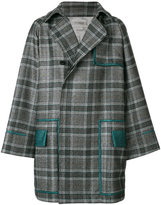 Rochas contrast trim and check trench coat