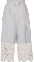 Zimmermann Meridian Broderie Anglaise-trimmed Striped Cotton-poplin Wide-leg Pants - Sky blue