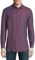 Armani Collezioni Textured Long-Sleeve Sport Shirt, Red