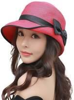 Siggi Ladies Floppy Summer Sun Beach Panama Straw Hats SPF Foldable Bucket Cloche Hat 56-59cm Red