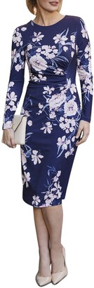 Harper Rose Floral Ruched Long Sleeve Sheath Dress