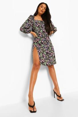 boohoo Floral Print Split Midi Dress