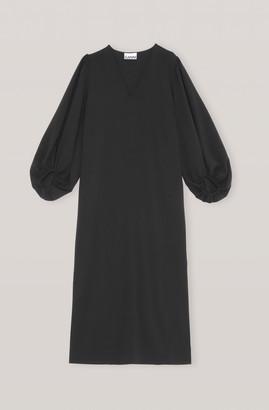 Ganni Black F4553 Heavy Crepe Long Dress - 34