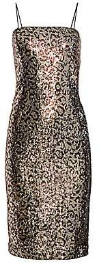 Milly Women's Kaia Leopard Sequin Midi Sheath Dress