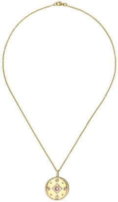 Kiki McDonough 18kt yellow gold Jemima lavender amethyst and diamond disc pendant