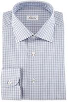 Brioni Shadow-Check Long-Sleeve Dress Shirt, Burgundy/Navy/Gray