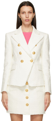 Balmain White Tweed 6-Button Blazer