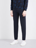 Sandro Elasticated-cuff relaxed-fit tapered wool-blend trousers