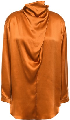 Nina Ricci Draped Silk-satin Top