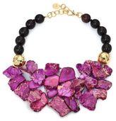 Nest Purple Jasper & Ebony Wood Beaded Bib Necklace