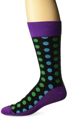 Hot Sox Men's Classic Fashion Crew Socks Ombre Dots Slack (Black) Shoe Size:6-12 / Sock Size: 10-13