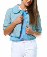 Light Blue Tweed Peter Pan-Collar Button-Up Jacket