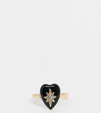 ASOS DESIGN Curve ring with black heart and crystal in gold tone