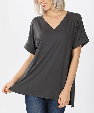 Ash Lydiane Women's Tee Shirts  Gray V-Neck Roll-Cuff Side-Slit Top - Women & Plus