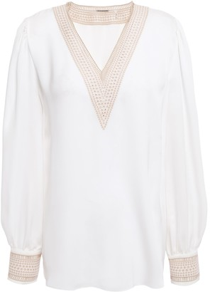 Elie Tahari Aura Broderie Anglaise-trimmed Silk Crepe De Chine Top