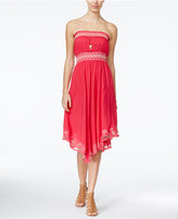 American Rag Embroidered Strapless Dress, Only at Macy's