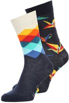 Happy Socks Faded Diamond 2 Pack Socks Dark Blue