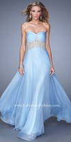 La Femme Decadent Floral Encrusted Prom Gown