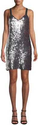 Tanya Taylor Becca Two-Tone Sequin Tank Dress