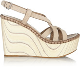 Miu Miu Suede and wood wedge sandals