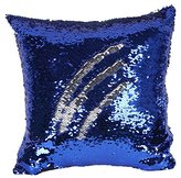 Sequins Mermaid Pillow Covers Doinshop Fashion Magical Color Changing Pillowcase (16 X 16 inches, Blue + Silver)