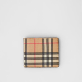 Burberry Vintage Check E-canvas Wallet with ID Card Case