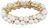 Anne Klein High Society Gold Tone Faux Pearl Stretch Bracelet