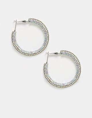 Topshop irridescent embellished hoop earrings-Multi