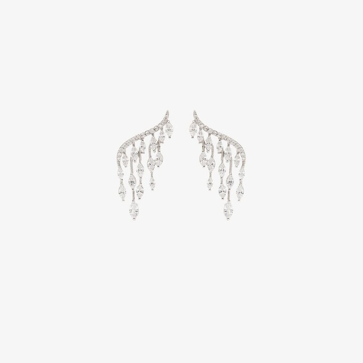 Apples & Figs Silver Tone Crystal Marquise Earrings