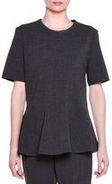 Stella McCartney Short-Sleeve Jewel-Neck Peplum Top, Granite
