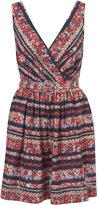 Navy Floral Stripe Belt Dress