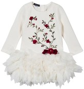 Kate Mack - Biscotti Ivory and Red Rose Applique Dress with Feathered Skirt