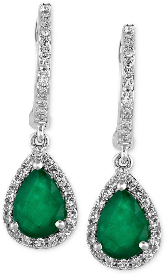 Effy Brasilica by Emerald (1-1/8 ct. t.w.) and Diamond (1/4 ct. t.w.) Drop Earrings in 14k White Gold, Created for Macy's